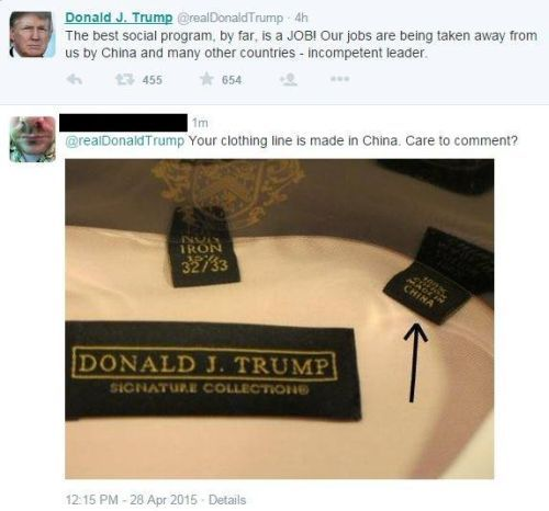 Donald Trump clothing line made in CHINA and MEXICO, not the UNITED STATES. Now, he wants to Make America great again? Really going to brings the jobs back Donald?