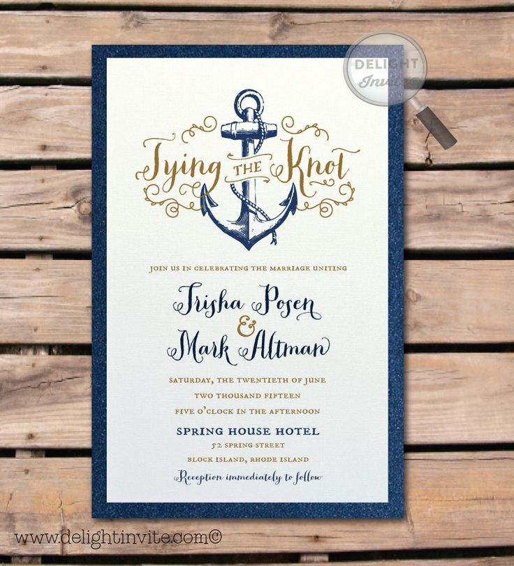 """Rustic Anchor """"Tie the Knot"""" Wedding Invitation"""