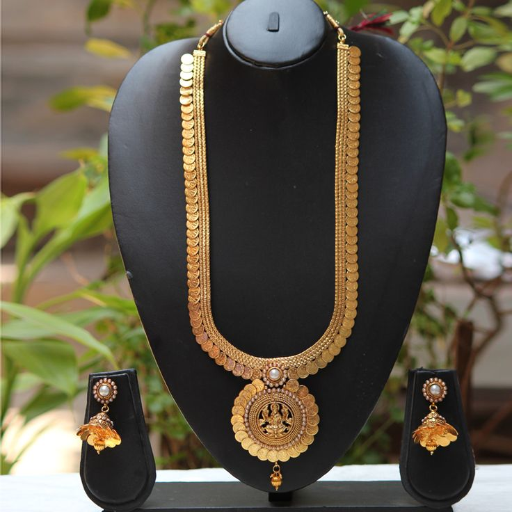Shop Temple Coin Laxmi Pendent White Pearl Long Necklace Set by Traditionalindia…