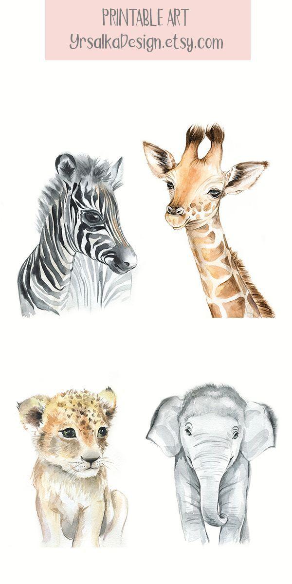 Child Animal Nursery Wall Artwork Safari Animal Prints Printable Watercolor Animal Artwork Prints Portray Elephant Zebra Set of four Prints for Nursery