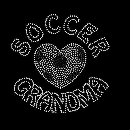 Football tshirt grand-mère Shirt coeur d'amour/Soccer strass.  Grand-mère de football Bling, fier football grand-mère Rhinestine Tshirt cadeau