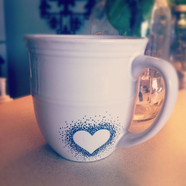 DIY sharpie mug-navy blue  Side note: make sure you wait 24 hours after you draw the sharpie before baking in the oven.
