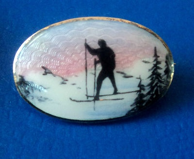 Norwegian Silver Scenic Enamel Ski Skiing Brooch Clement Berg Norway | eBay