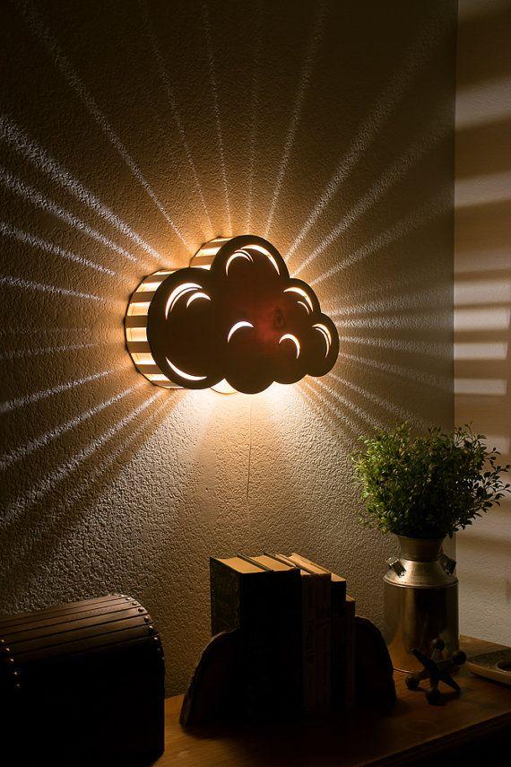 Nube - colgante de pared de luz de la noche - Bebés y Niños Lámpara de habitaciones - Naturaleza Decoración - Madera iluminación de acento Lasercut - Corte láser luz nocturna