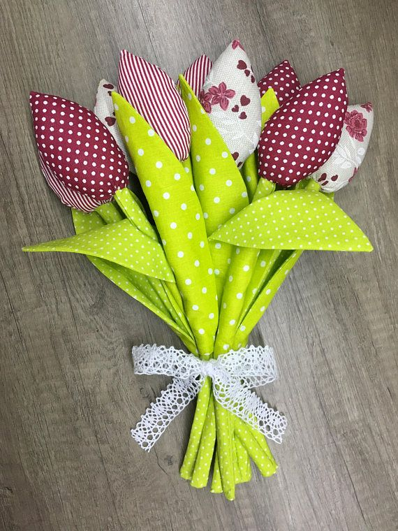 Fabric Tulips bouquet handmade Birthday Gift