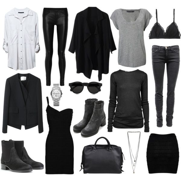 the perfect basic wardrobe by toutestparfait on Polyvore featuring Hervé Léger, T By Alexander Wang, Zara, French Connection, 3.1 Phillip Lim, Helmut Lang, A|Wear, Cosabella, Acne Studios and COSTUME NATIONAL