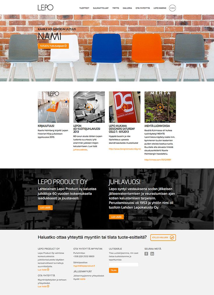 Facelift of Lepo Product web site, made in Redland: http://www.redland.fi/lepo-www-uudistus/
