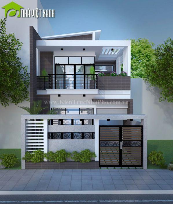 Hình ảnh thiết kế nhà phố đẹp kiến trúc 2 tầng có mặt tiền 7m kiểu 1