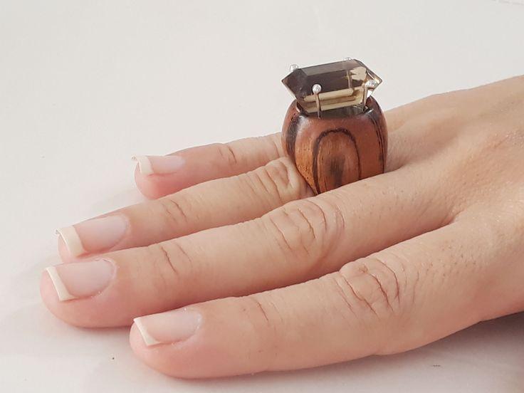 natural citrine and muiracatiara wood ring by kingwoodbrazil