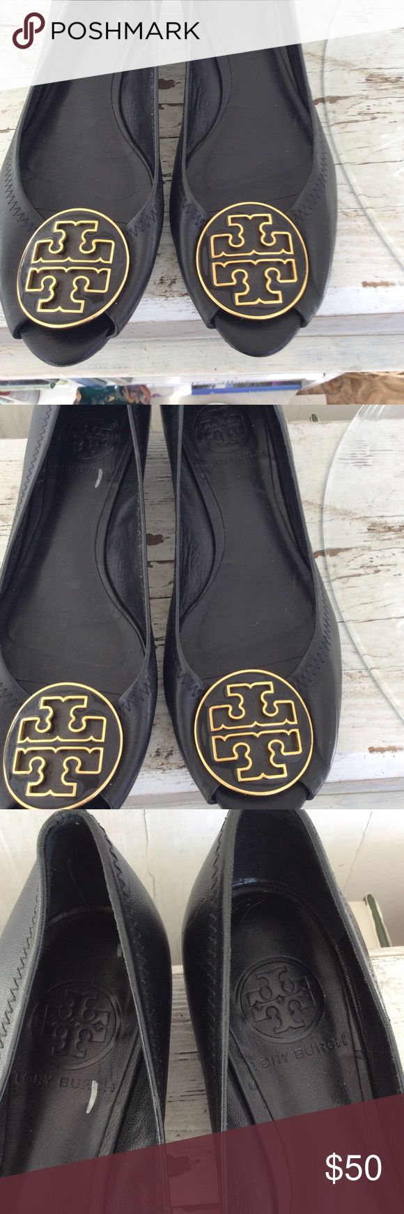 """Tory Burch open toe flats size 6 Black leather Tory Burch peep-toe flats with gold-tone logo accents at tops and stacked wedge heels. Heels: 1.25"""" Tory Burch Shoes Flats & Loafers"""