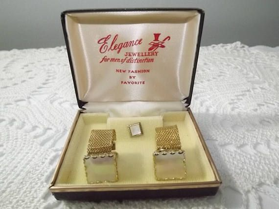 Mother of Pearl Cuff Links and Tie Pin Set Quality