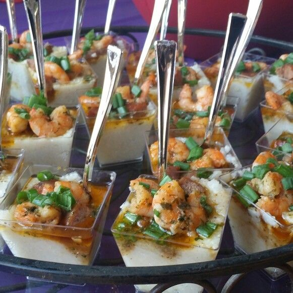 Southern Wedding Reception Food: Southern Style Shrimp & Grits Shooters! Made By Shauna The