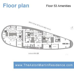 Floor plans of the 4 Amenities floors in Aston Martin Residences, Miami