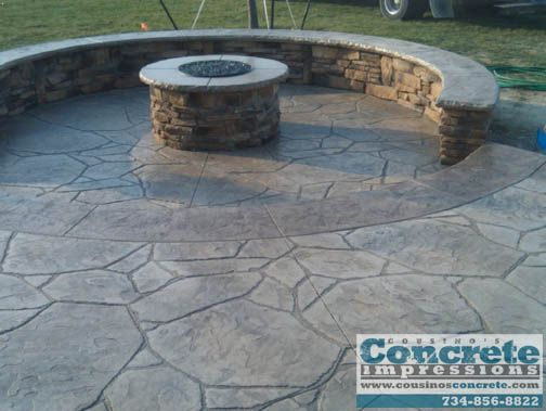 Concrete Patio Stamped Outdoor Fire Pits | We look forward to working with you,...like design, not colot