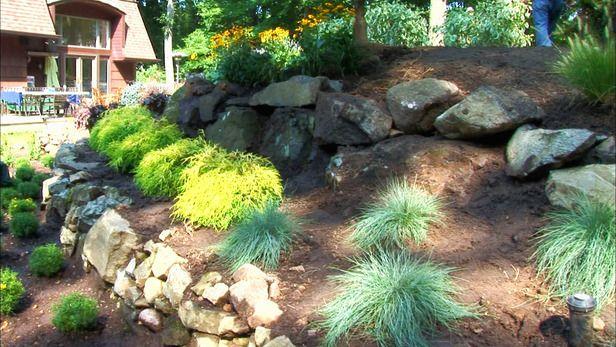 Front yard slope coverage gardens pinterest gardens for Sloped rock garden designs