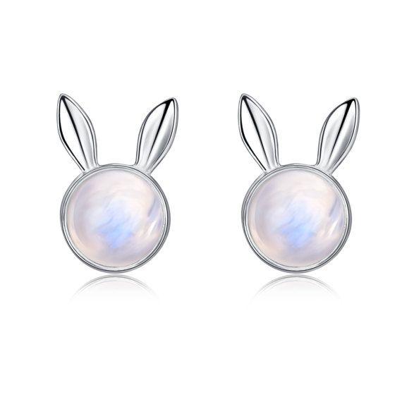 Moonstone earrings Bunny Rabbit studs Dream Catcher