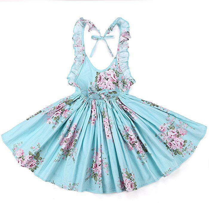 Flofallzique Girls' Cotton Vintage Print Floral Princess Dress For Toddler and Baby Girl (1, blue)