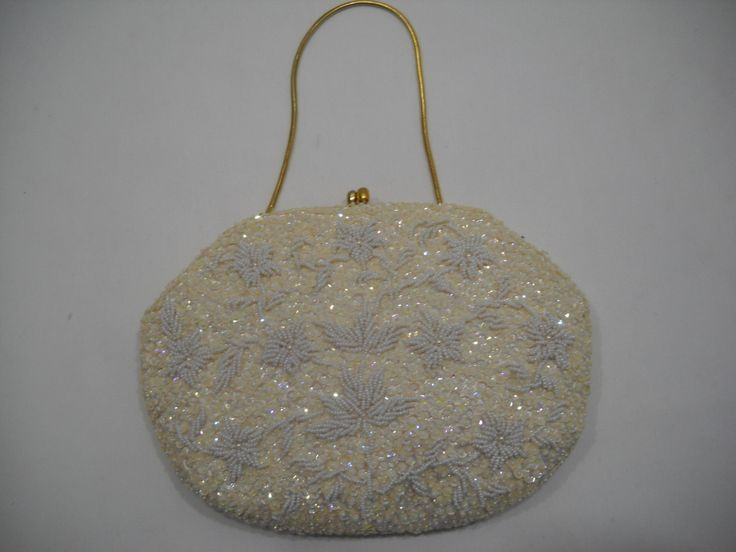 Vintage Beaded & Sequined Ivory Cocktail/Evening Purse Hand Bag Made in British Hong Kong by SeaPillowTreasures on Etsy