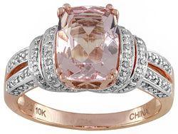 1.50ct Cushion Cor-de-rosa Morganite(Tm) With .21ctw Round White Diamond 10k Rose Gold Ring