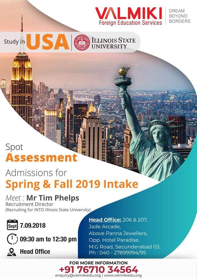 Usa Spot Assessment Illinois State University Meet The Delegates Of The University Get Overseas Education Educational Consultant Illinois State University