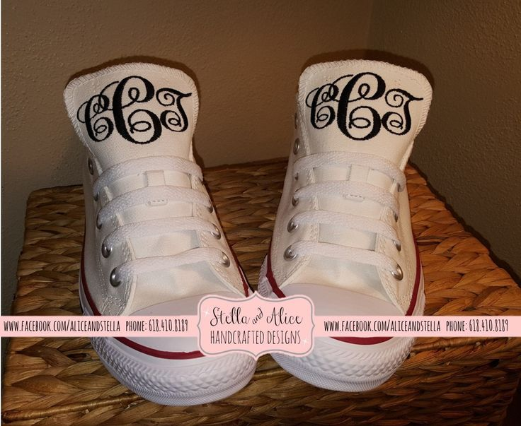 Monogrammed Embroidered Chuck Taylor Converse - Hi-top / Low top by stellalice on Etsy