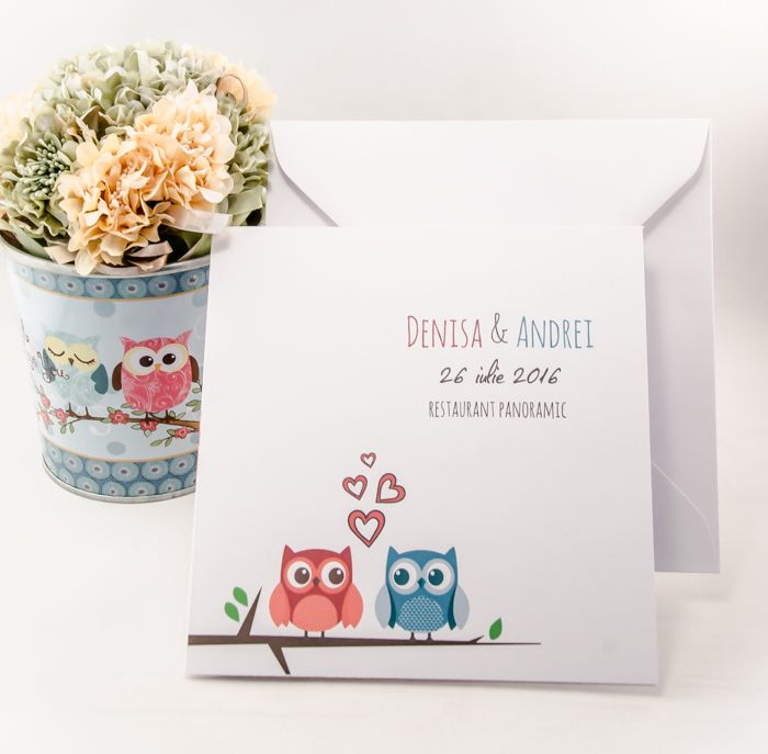 Iubim bufnitele! Așa că ele au un rol special în familia DecoMag prin aceste invitații colorate și pline de personalitate - Invitații cu bufnițe - http://www.decomag.ro/pachet-casatorie-bufnite-haioase.html