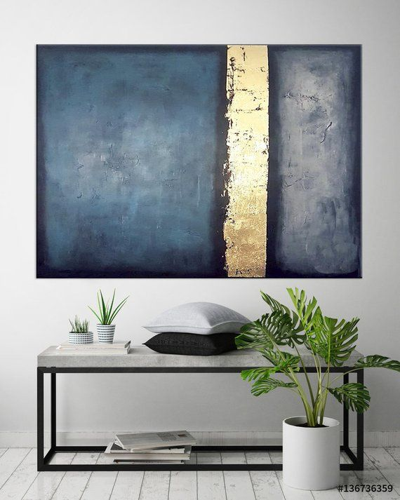 Large Abstract art Canvas Painting Blue Gold Minimalist Gold Leaf painting Office wall art Large Living room art Modern canvas art Blue art – S R