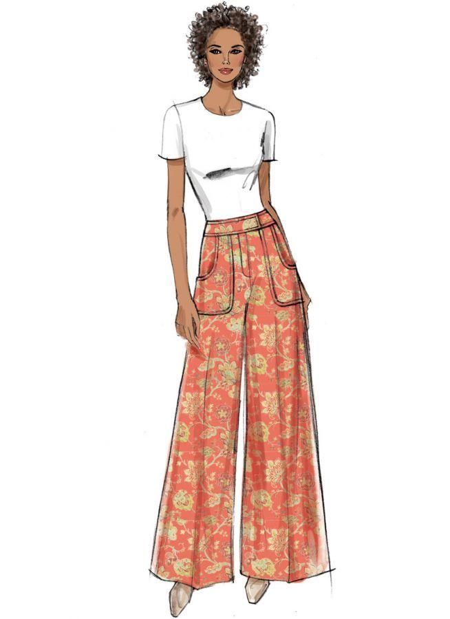 9361 Vogue Designer Schnittmuster Weite Hose Easy Weite Hosen Damen Hosen Damen Weite Hosen