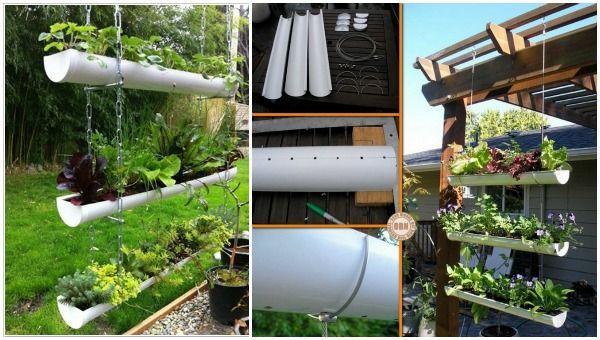 15 Fabulous DIY Rain Gutter Projects For Home and Garden - DIY Hanging Rain Gutter Garden