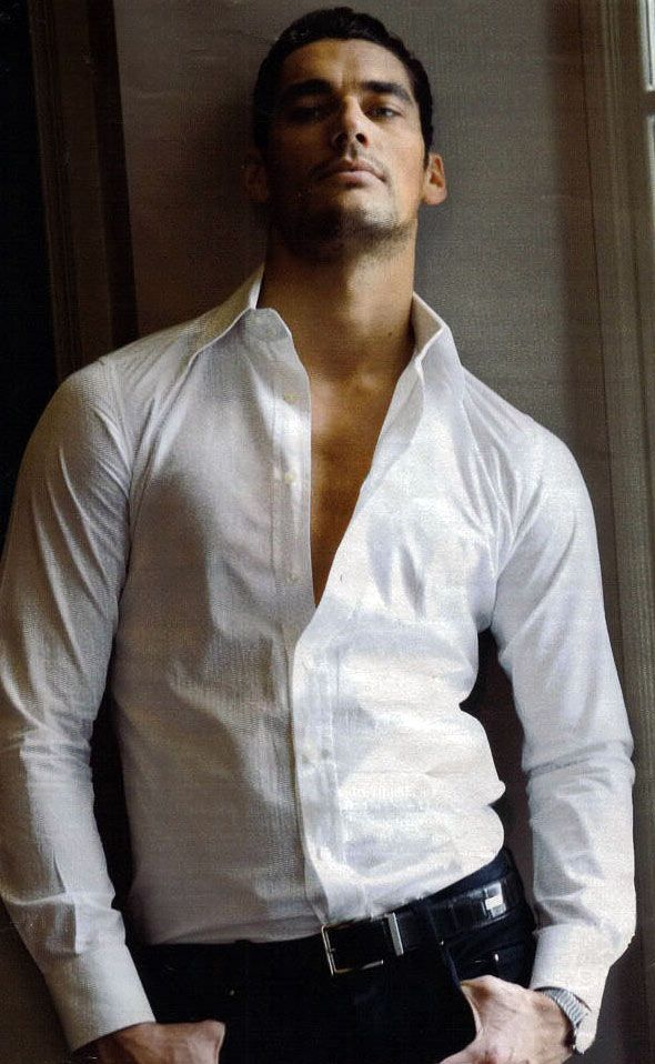♂ Masculine & elegance man's white fashion shirt male model David Gandy