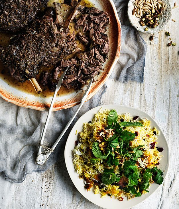 Iranian-style lamb shoulder with cranberry and pistachio spiced rice recipe   Gourmet Traveller recipe - Gourmet Traveller