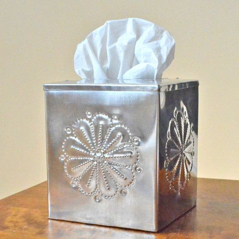 Tinwork Tissue Box Cover, Handcrafted tin tissue box cover, New Mexico – Dogwood Hill Gifts
