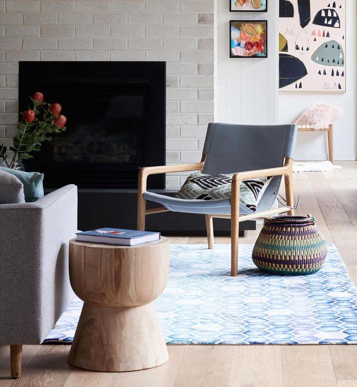 Leather Sling Chair - Teak & Grey
