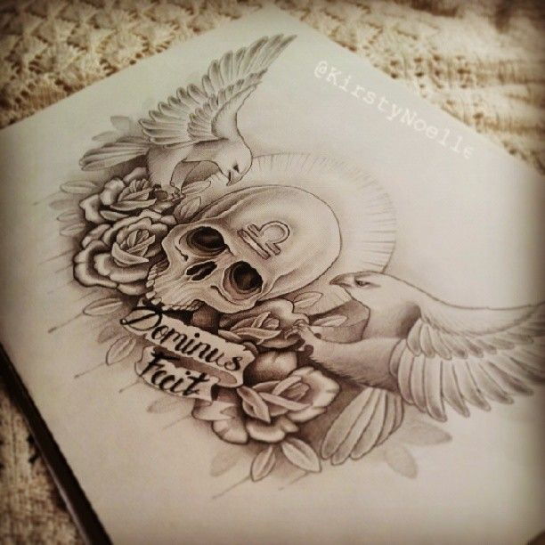 Skull, Eagle and Rose chest tattoo piece, by Kirsty Noelle Davies