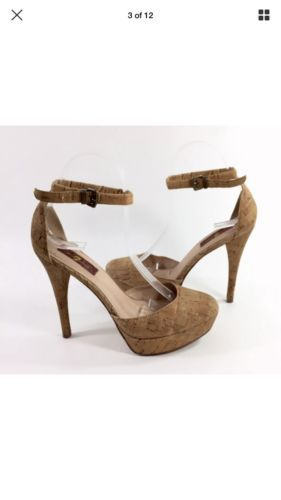 61501fd0dd5 Seven 7 For All Mankind Platform Nude Shoes Women's Cork Heels 10M ...