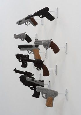nathan vincent #crochet guns art explores masculine/ feminine