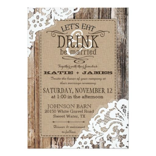 shop country western wood lace rustic wedding card created by noudesigns - Western Wedding Invitations