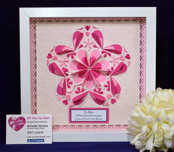 3D Wall Art  Paper Hearts  Mother's Day Gift by LoveArtsbyMichelle