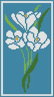 Cross stitch chart. Three snowdrops