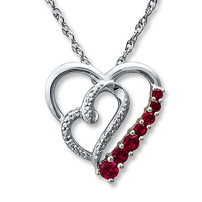 Diamond Heart Necklace Lab-Created Rubies Sterling Silver