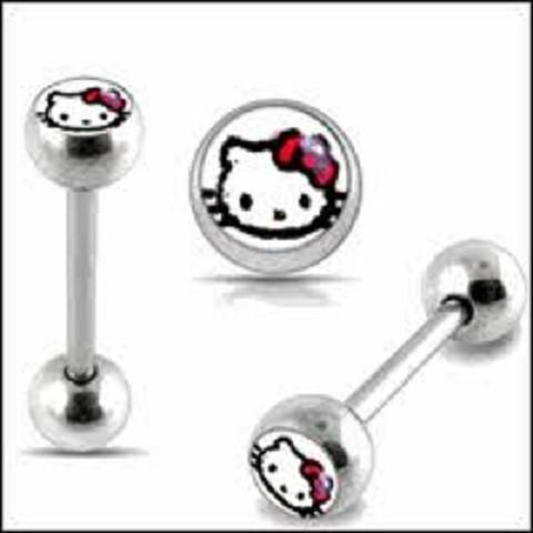 cute tongue piercing jewelry fashion hello kitty