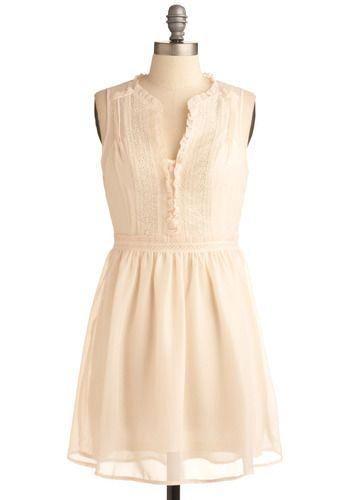 Cream ruffled collar dress