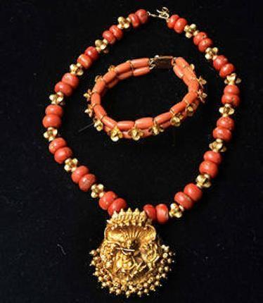 Ode to Coral: Coral Jewellery collection at Jewel Kishore showroom. Photo: R. Shivaji Rao