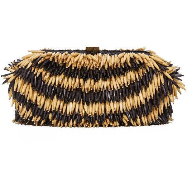Santi Bead Fringe Clutch (254 AUD) ❤ liked on Polyvore featuring bags, handbags, clutches, satin purse, chain strap handbag, kiss clasp purse, kisslock purse and santi clutches