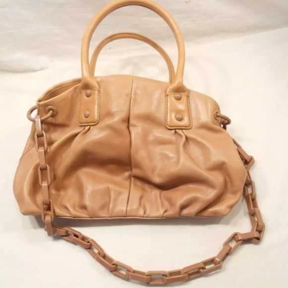 "J Crew Collection Editor tote satchel bag I TAKE OFFERS AND DISCOUNT BUNDLE!!  Beautiful J. Crew Collection large tote bag/purse, light brown, 100% leather with fabric lining, Bakelite-looking chain link removable shoulder strap.  Zippered compartment across the center of the bag interior, one side zippered slot, two open slots.  Magnetic closure.  Very good preowned condition, interior is very clean, very minor wear on the bottom. Approximately 15"" wide, 10"" high. J. Crew Bags Satchels"