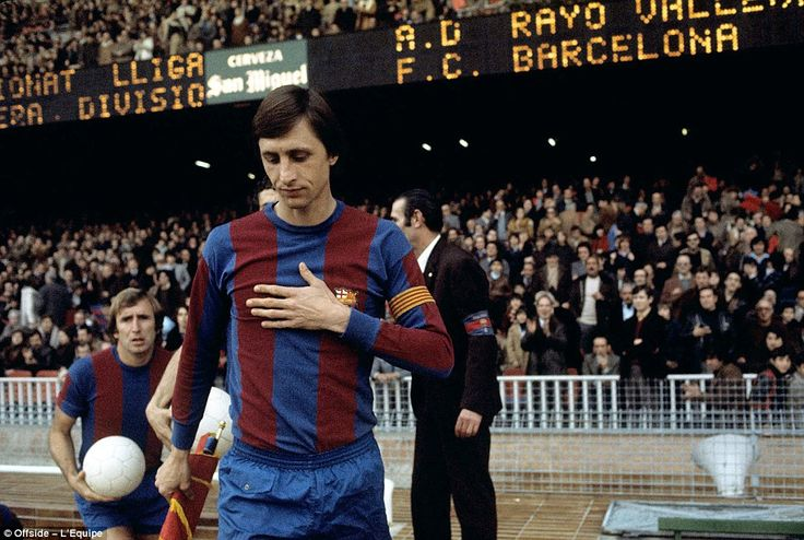 Johan Cruyff (25 Apr 1947 – 24 Mar 2016) captained Barcelona during his 5 seasons there, 1973 –1978