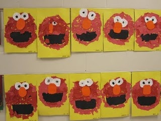 Elmo torn paper collage. Construction paper and glue. No scissors needed!