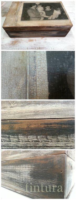 Caja de madera envejecida y decorada con fotografía familiar y técnica de #Transfer. Acabado de barniz #craquelado en el taller de #Tintura. http://www.tintura.es/cursos-talleres/
