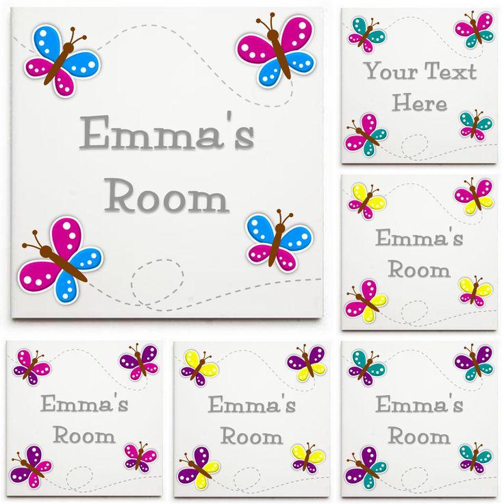 Personalised Butterflies Sign/Plaque - Ceramic Tile Print - Door Sign