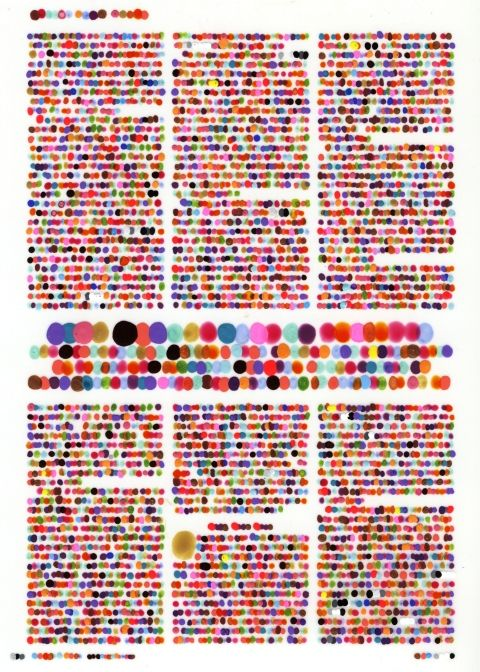 I like this a lot.  Color codification dot drawings by artist Lauren DiCioccio. To make each painting, she lays a sheet of frosted mylar over a magazine page and assigns a color to every letter, with numbers as shades of grayscale, then applies tiny dots of paint over every character on the page according to the color-code. A kind of Braille for the color-inclined.